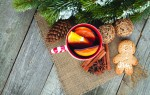 Christmas mulled wine with fir tree, gingerbread and spices on wooden table